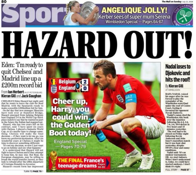 The Mail on Sunday leads on Eden Hazard stating he will consider his future