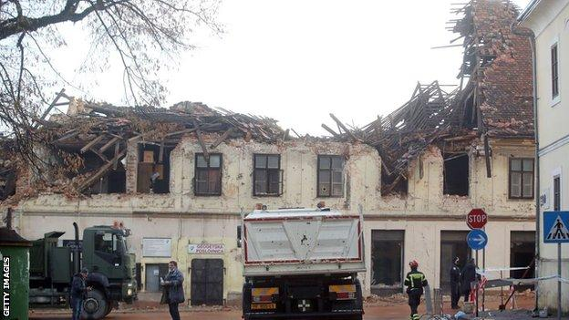Buildings in the town of Petrinja are damaged by the earthquake