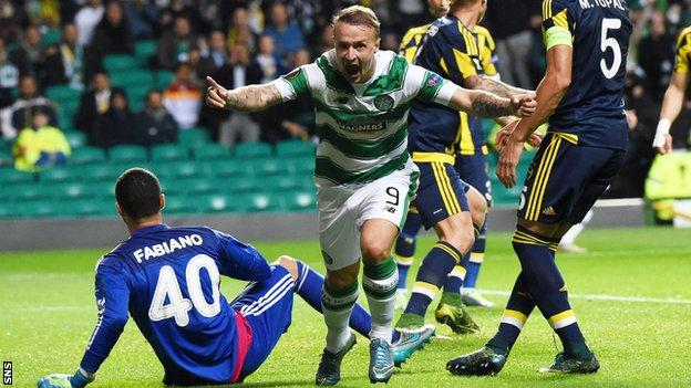 Leigh Griffiths celebrates after scoring for Celtic against Fenerbahce