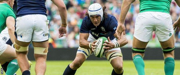 Scotland back-row forward Blair Cowan playing against Ireland