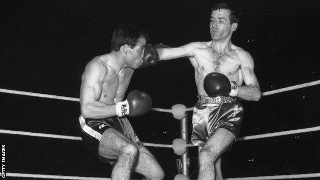 Walter McGowan lands a right on Salvatore Burruni during their world flyweight championship at Wembley in June 1966
