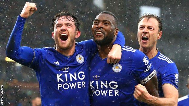 Wes Morgan (centre) has scored three goals in his past four matches for Leicester City