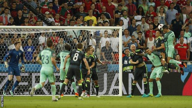 Ronaldo heads Portugal in front on 50 minutes