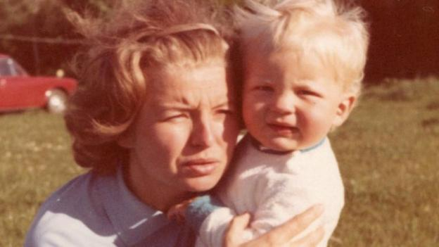 Adrian Chiles, aged one, with his mother Ljerka