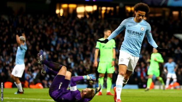 Leroy Sane scoring for Man City