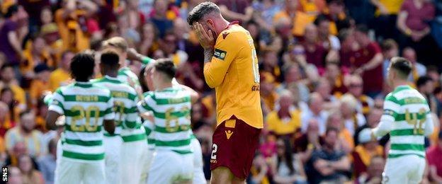 Ryan Bowman looks dejected after Celtic score against Motherwell