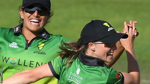 Naomi Dattani celebrates a wicket while playing for Western Storm