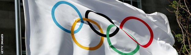 Flag with Olympic rings