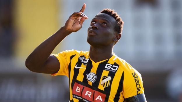 Sierra Leone striker Alhassan Kamara during his time at Swedish club Hacken BK