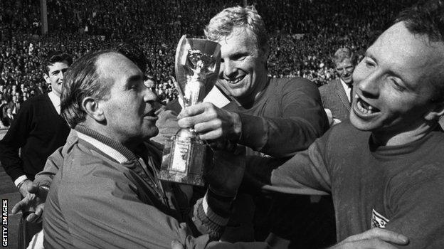 Nobby Stiles celebrates England's 1966 World Cup win with Sir Alf Ramsey and Bobby Moore