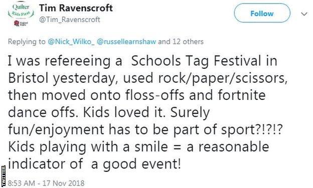 Tim Ravenscroft tweet in support of David McNamara