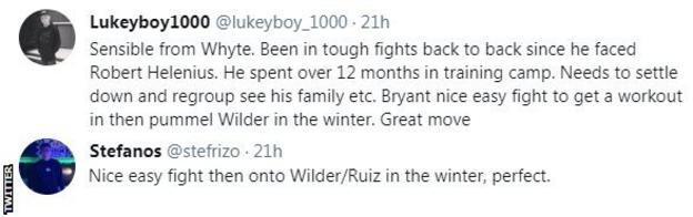 """Fans on Twitter are happy to see Whyte fight Bryan next, with one fan saying it's a """"nice easy fight then onto Wilder/Ruiz in the winter""""."""