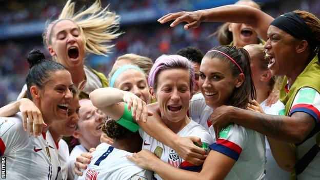 USA celebrate a goal in the Women's World Cup final