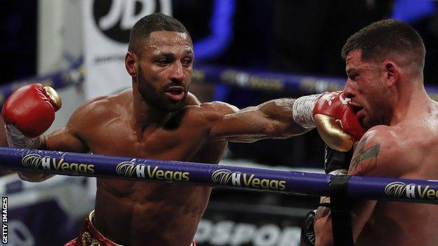 Kell Brook lands a punch on American opponent Mark DeLuca in their February match