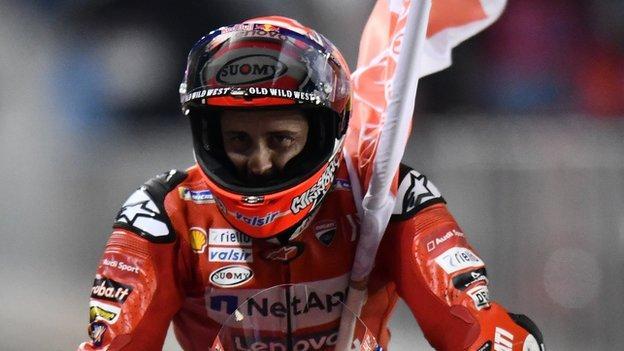 Andrea Dovizioso celebrates his win in Qatar