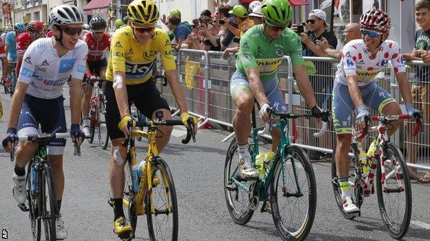 (l-r) The 2016 Tour de France jersey winners: Adam Yates, Chris Froome, Peter Sagan and Rafal Majka
