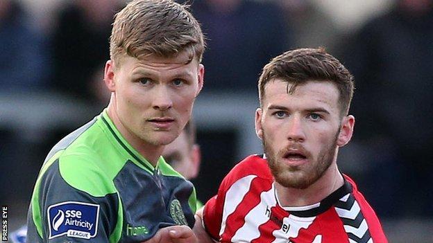 Bohemian's Derek Pendergast in action against Patrick McClean of Derry City