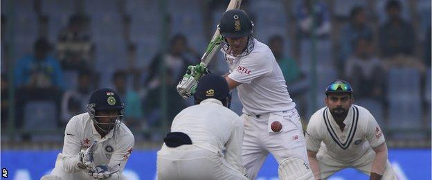 AB de Villiers plays a shot against India