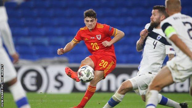 Daniel James in action against Finland