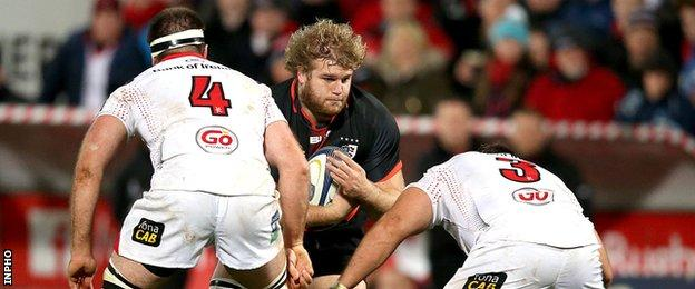 Ulster forwards Alan O'Connor and Wiehahn Herbst combine to halt the progress of Toulouse's Gillian Galan