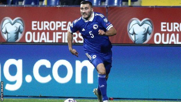 Sead Kolasinac playing for Bosnia-Herezegovina