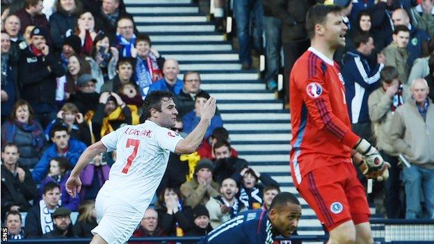 Gibraltar's Lee Casciaro celebrates his goal against Scotland