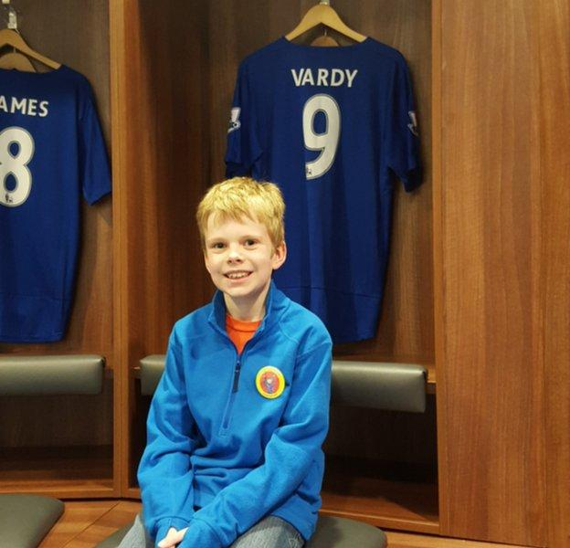 Charlie, nine, in the dressing room of Premier League table-toppers Leicester