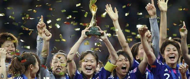 Japan celebrate winning the World Cup in 2011