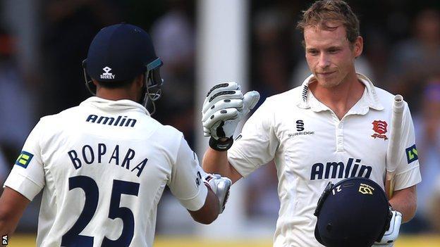 Ravi Bopara (left) congratulates Tom Westley on reaching his century