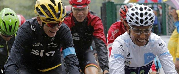 Chris Froome (left) and Nairo Quintana share a laugh on Sunday's final stage of the Tour de France