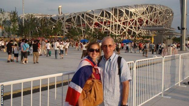 Jenny and Jeremy Slater in front of the Bird's Nest Stadium in Beijing