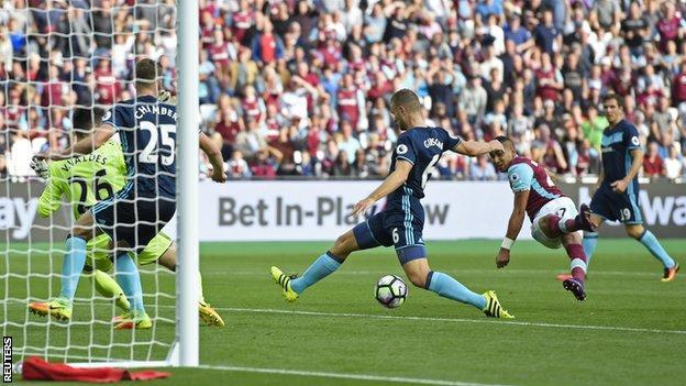 Dimitri Payet scores for West Ham against Middlesbrough