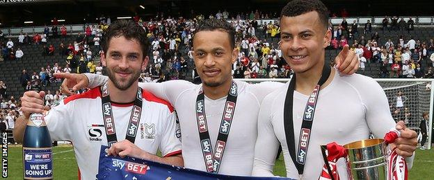 Will Grigg (left), Lewis Baker (middle) and Dele Alli were all on loan at MK Dons last season