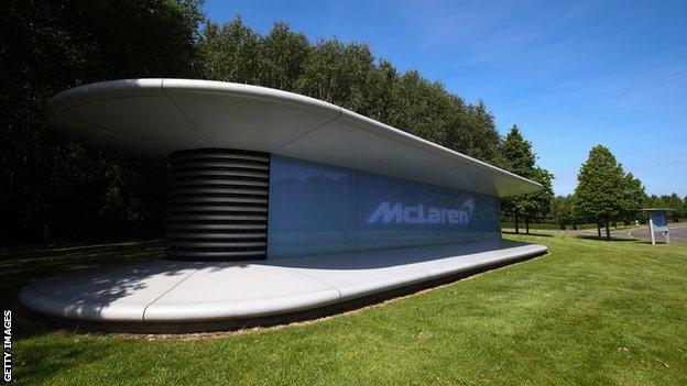 A sign with the McLaren logo outside the group's headquarters in Woking, Surrey