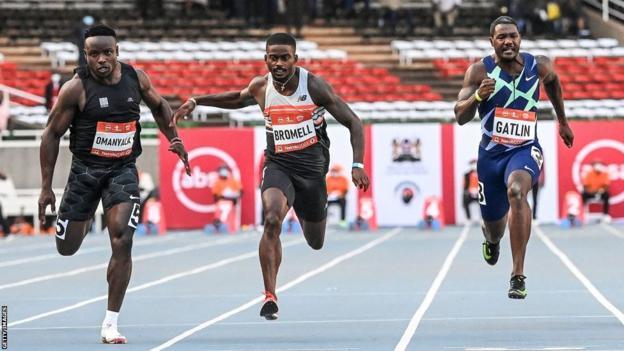 Kenya's Ferdinand Omurwa Omanyala (left) breaking the African 100m record finishing behind Trayvon Bromell (centre) but ahead of Justin Gatlin