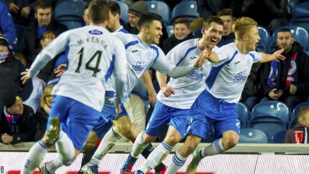 Queen of the South celebrate their equaliser against Rangers