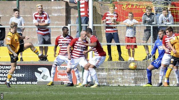 Aidan Smith (far left) scores for Anna against Hamilton