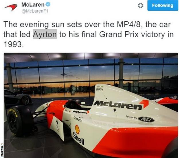 Ahead of the Brazilian Grand Prix, McLaren tweeted an image of the car used by the late Ayrton Senna when he scored his last win in the sport in 1993.