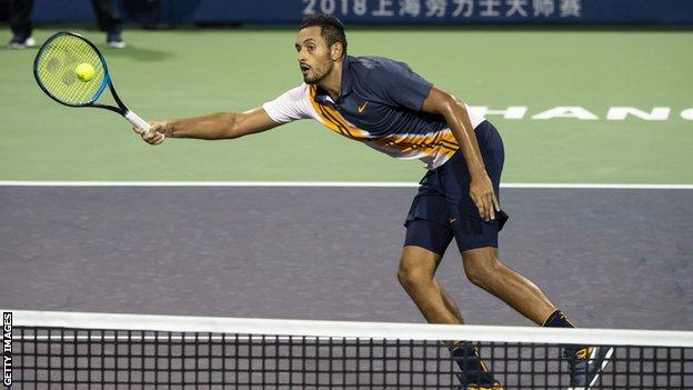 Nick Kyrgios in action at the Shanghai Masters