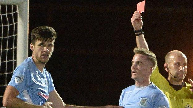 Ballymena's Adam Lecky was the second player to be red-carded after Rory Hale's dismissal