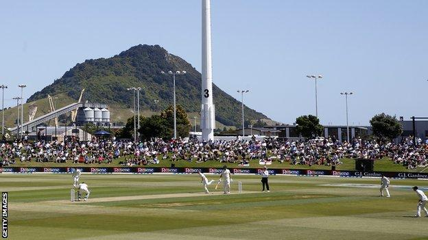 A shot of Mount Maunganui in the background of the Bay Oval during day one of the first Test between New Zealand and England