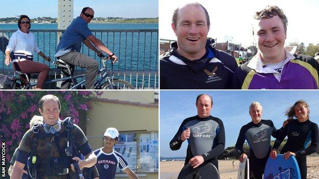 Nigel Maycock cycling with his wife/Sam's mum (top left), with Sam at Effingham and Leatherhead RFC (top right), going scuba diving on holiday (bottom left) and surfing with Sam and his sister (bottom right)
