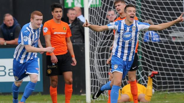 Brad Lyons celebrates after scoring an early goal for Coleraine in their 2-1 Irish Premiership win at Carrick Rangers