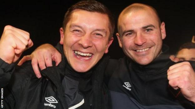 Salford City were in the Northern Premier League Premier Division when joint managers Anthony Johnson (left) and Bernard Morley steered them to an FA Cup victory over League Two Notts County in 2015