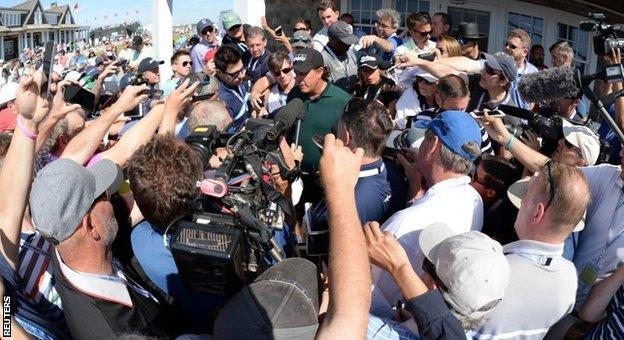 Phil Mickelson answers questions after the third round at the US Open