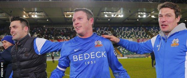 Kevin Braniff scored all four goals in Glenavon's semi-final win over Crusaders