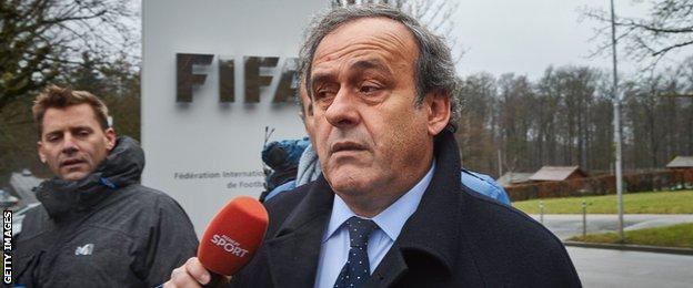 Former Uefa president Michel Platini is questioned by the press