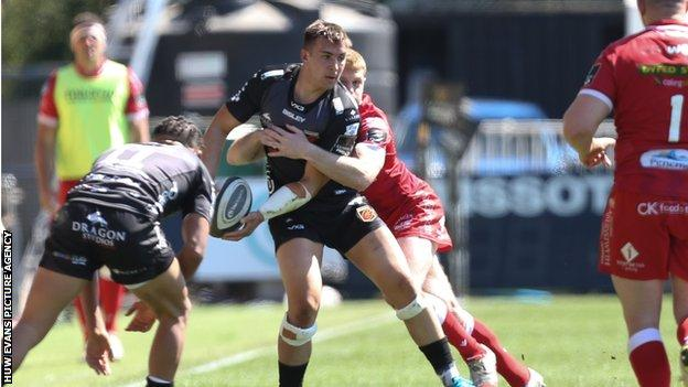 Dragons flanker Taine Basham was playing his first game since early January after recovering from a fractured forearm
