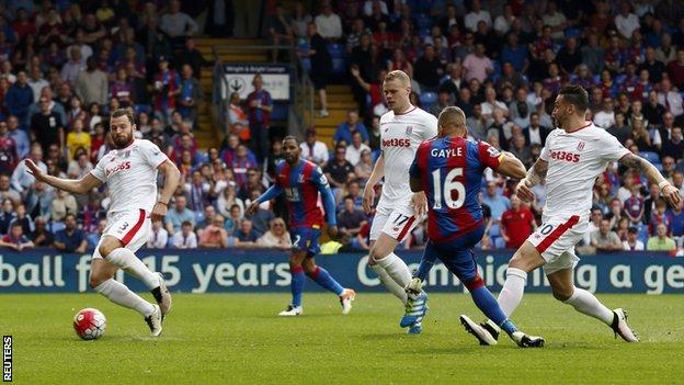 Crystal Palace striker Dwight Gayle scores against Stoke