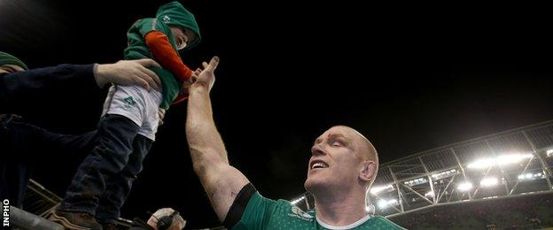 Paul O'Connell greets a young fan after Ireland's win over Australia last November